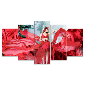 5 Pieces Canvas Wall Art Red Lady in Forest HD Painting Printed Poster