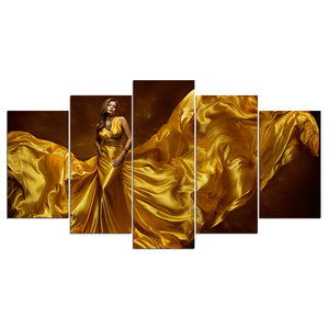 5 Pieces Canvas Wall Art Lady in Gold Dress HD Painting Printed Poster