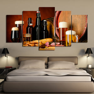 5 Pieces Canvas Wall Art Beer Fans HD Painting Printed Poster