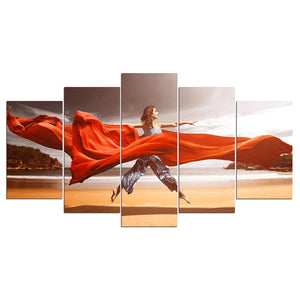 5 Pieces Canvas Wall Art Lady Dancer in Jump HD Painting Printed Poster