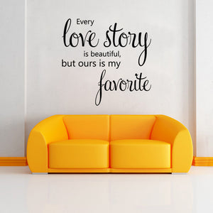 Love Story Quote Wall Sticker, DIY Home Decoration Wall Art Decor Wall Decal