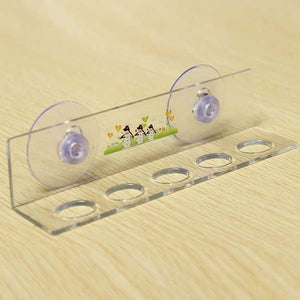 Bathroom Sucker Toothbrush Holder 5 Hole Rack With 2 Suction Cups