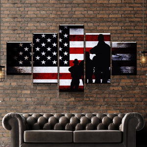 USA Veterans Pride Canvas Poster Prints Paintings Wall Art SET