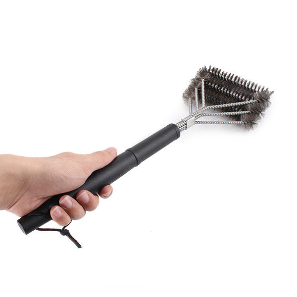 New Grille Grill BBQ Brush Barbecue Cleaner 3 Steel Wire Heads Effortless Cleaning Plastic Handle