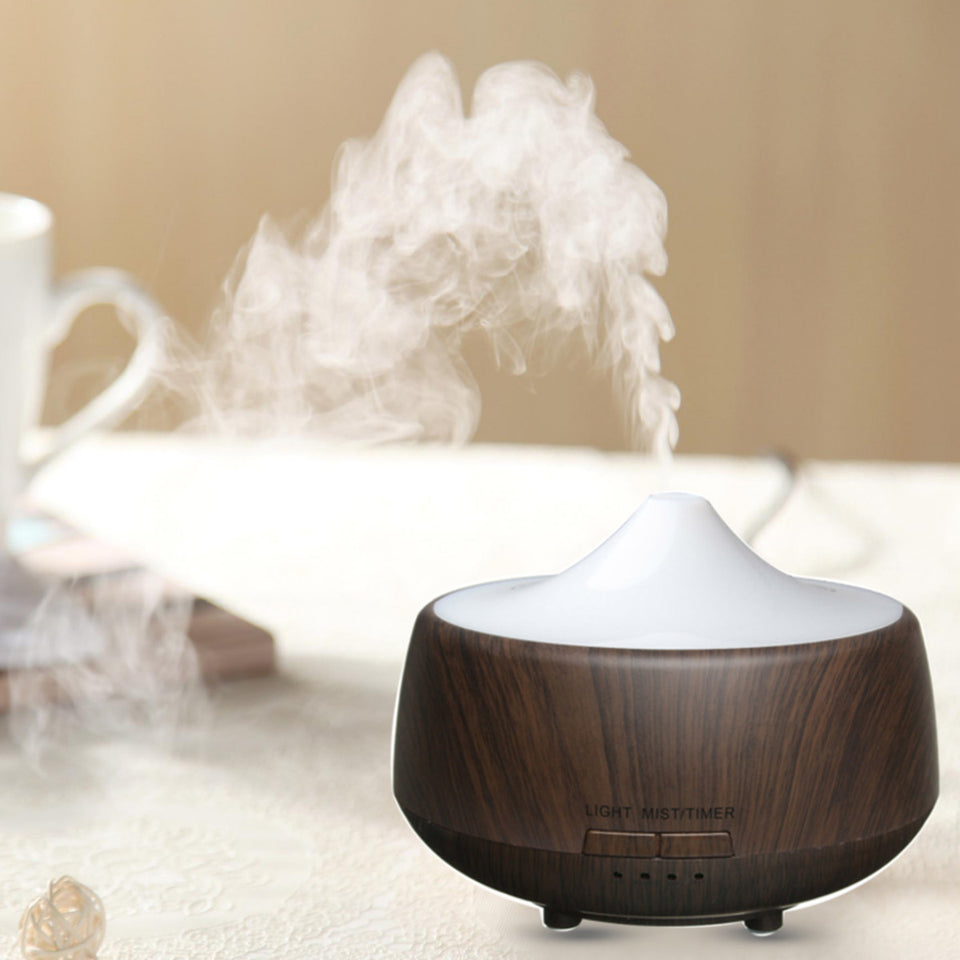 Ultrasonic LED Color-changing Wood Grain Aroma Diffuser Humidifier Aromatherapy Spa Essential Oil