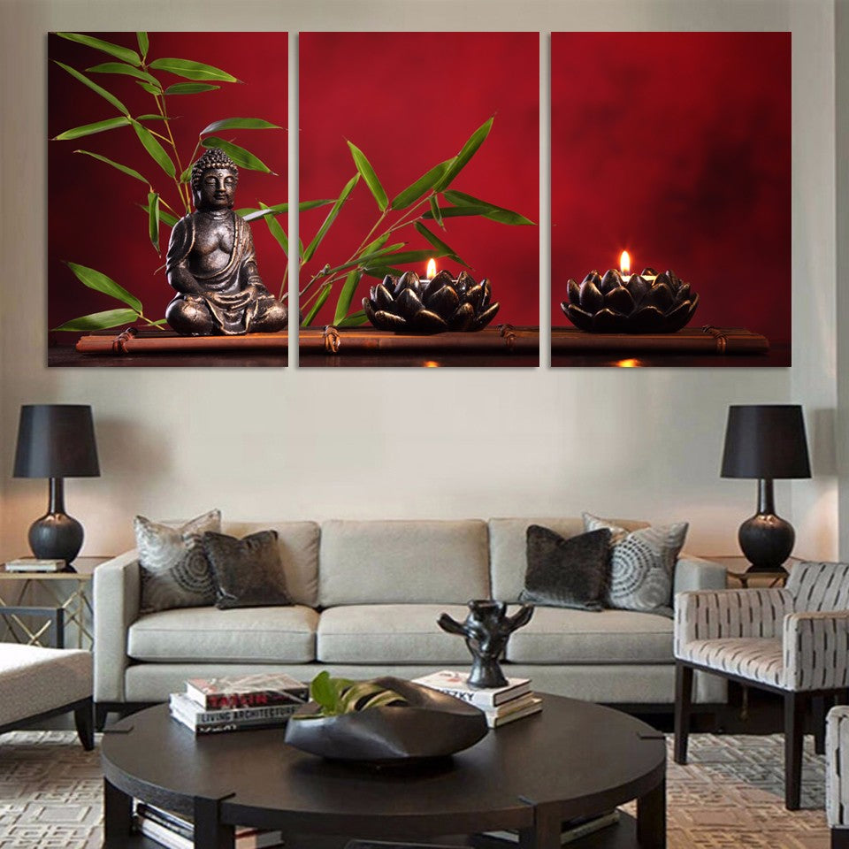 3 Pieces Large Buddha Canvas Print Painting Home Decor ...