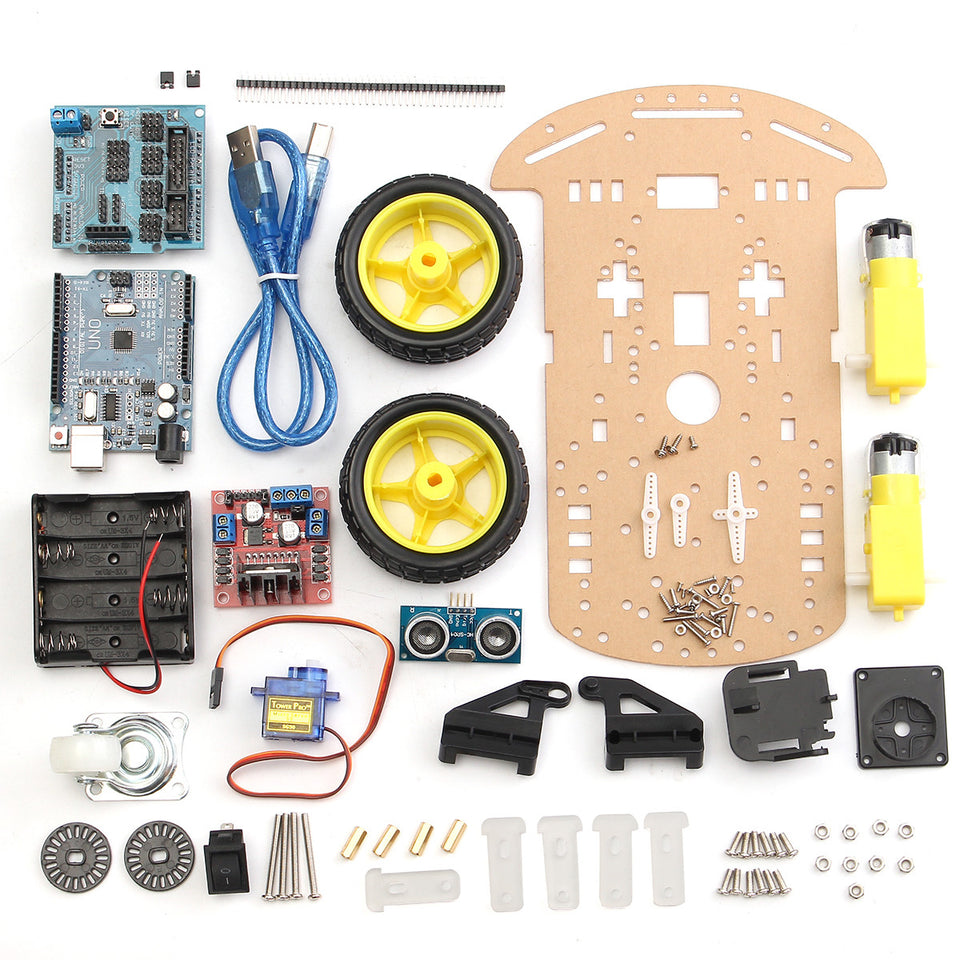 2 Wheels Ultrasonic Smart Robot Car Chassis Tracking Car Kit For Arduino