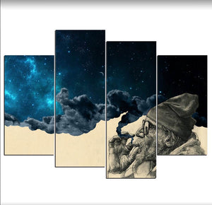 4 Piece Canvas Printed Art Smoke And Wonder Canvas Old Beard Man Canvas Prints Vintage Wall Pictures