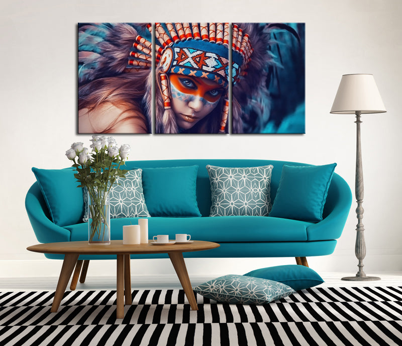 3 Panels Canvas Art Posters Prints Native American Indian Beauty Girl Art Paintings