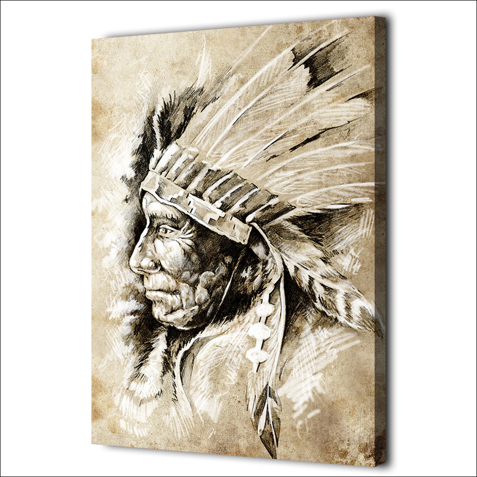 HD Printed 1 Piece Canvas Art American Indians Painting Ethnic Portrait Wall Pictures