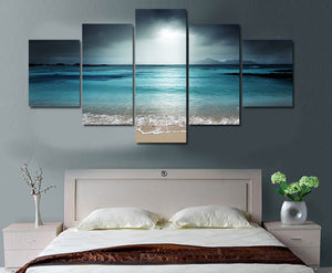 HD Printed Beach Ocean Sea Sunset Painting Canvas Print Print Poster Picture Canvas