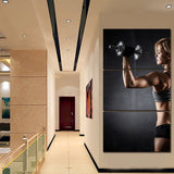 Wall Art Home Decorative Canvas Print Painting 3 Piece Girl Sports Fitness Modular Picture Modern Artwork