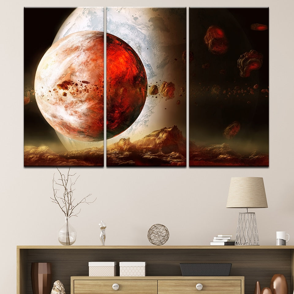 Pictures Bedroom Decor HD Prints Painting 3 Pieces Planet Of The Universe Space Modern Wall Art Canvas Posters