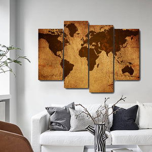 Retro World Map Canvas Painting Calligraphy Prints Posters Home Decorative Wall Art Pictures House Bedroom