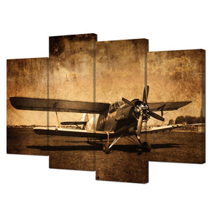 Canvas Prints Vintage Aircraft wall Art Old Plane Retro Military Aviation Airplane Fighter