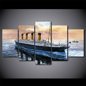 5 Panels Canvas Wall Printed Titanic Movie Boat Painting Children's Room Decor Print Poster