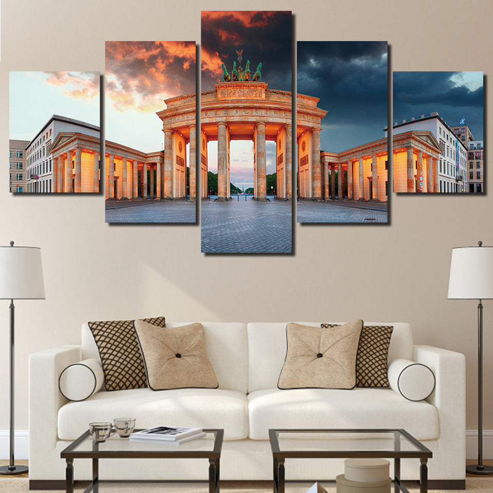 HD Print 5 Piece Canvas Painting Germany Berlin Painting Brandenburg Gate Prints Living Room