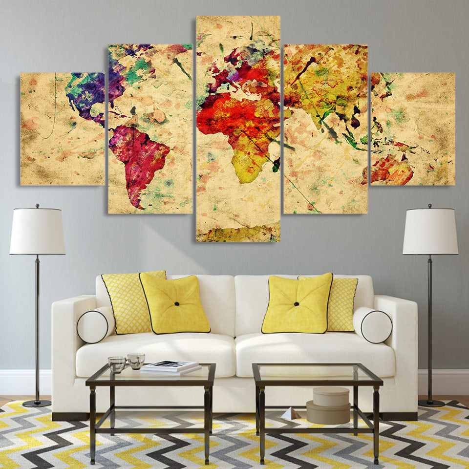 HD Print 5 Piece Canvas Painting Vintage World Map Painting Living Room Posters Prints
