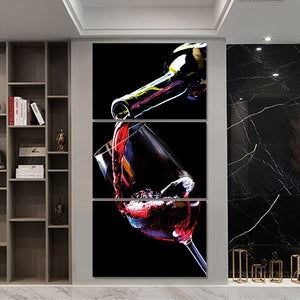 3 Pieces Wine Cupboard Bar Glass Posters Prints Painting Wall Art Canvas Painting Wall Pictures Living Room