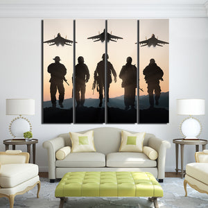 4 Piece Print Canvas Airplane Army Soldier Patriotic Posters Prints Wall Decorations Living Room