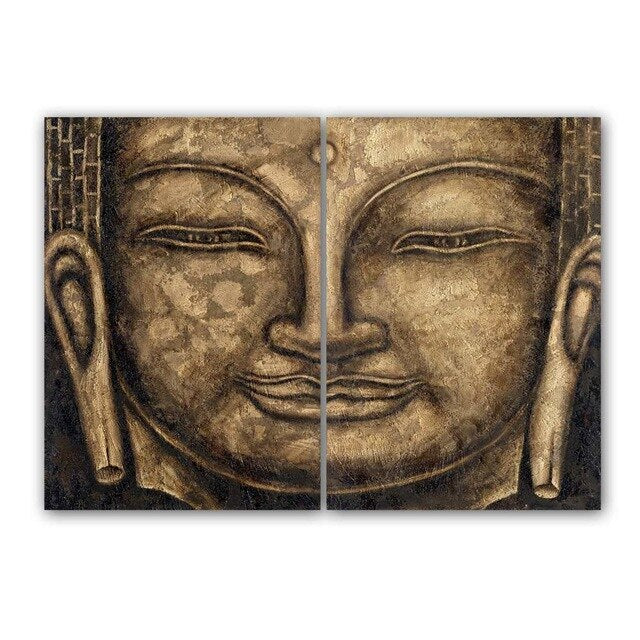 Canvas Painting Wall Art Gray 2 Panel Modern Large Oil Style Buddha Wall Print Canvas Home Decorations