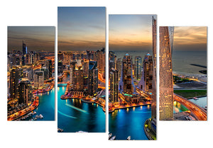 Canvas Painting 4 Piece Art Dubai Skyscrapers Cityscape HD Printed Wall Art Picture Living Room