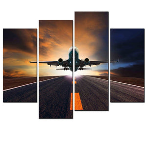 Living Room Canvas 4 Pieces Airplane Departure Biplane Painting Art Wall HD Modular Picture Prints Poster