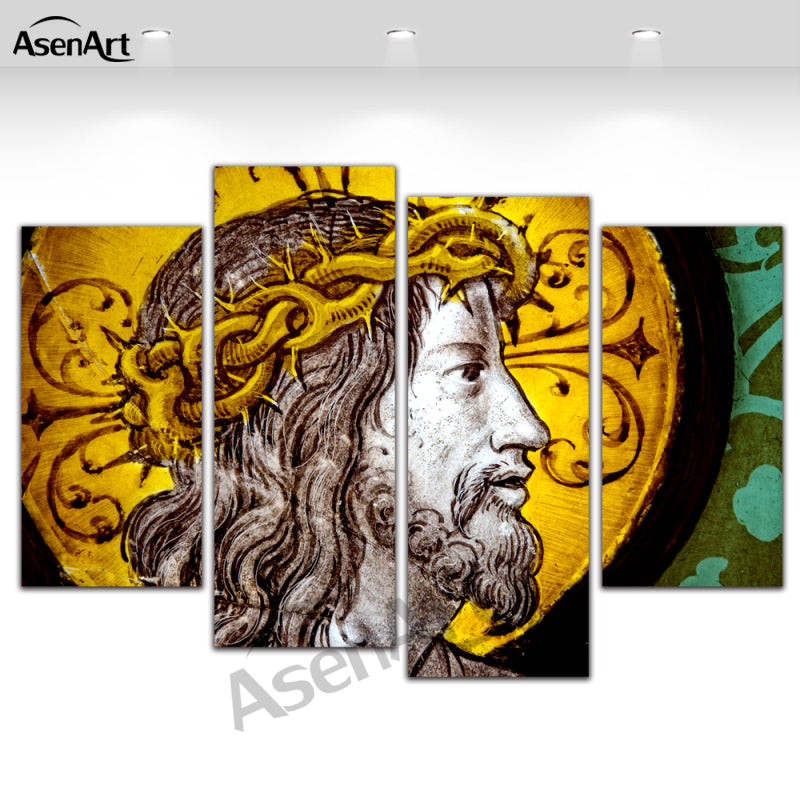 4 Piece Canvas Art Christianity God Jesus Print Painting on Canvas Modern Home Pictures Prints Ready