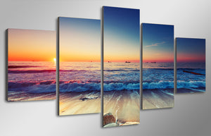 HD Printed Sunset Beach Landscape Painting Canvas Print Poster Picture Canvas