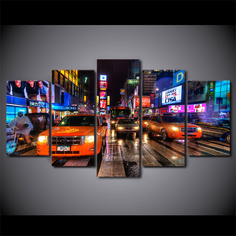 5 Panel HD Printed New York Usa Times Square Painting Children's Room Wall Print Poster Picture