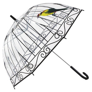Transparent Umbrella Rain Bird Cage Parasol Long-handle Umbrella 8 Ribs Sunny Rainy Umbrella