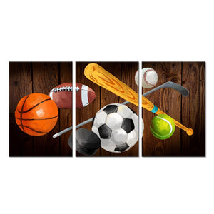 3 Pieces Canvas Wall Art Basketball American Football Baseball Soccer Tennis Hockey Balls Picture Prints Vintage Sports