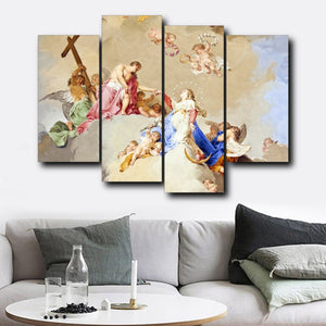 Canvas Calligraphy Painting 4 Panel Religious Christianity Posters and Prints Wall Art Pictures Living Room Decor