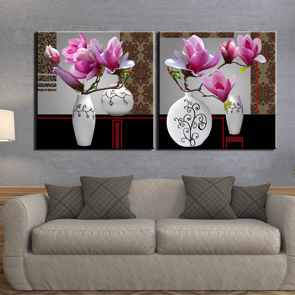 Modular 2 Panel Canvas Painting Still Life Flower Picture Wall Picture Art Posters Wall Art Painting
