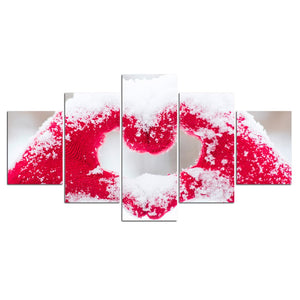 Canvas Print Pictures Wall Art Framework 5 Pieces Handing Heart Winter Snow Modular Home Decor