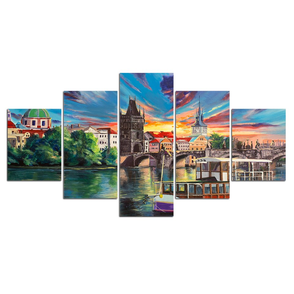 5 Pieces Modern City Town Lake Bridge Scenery Colorful Painting Wall Art Picture Home Decoration Print