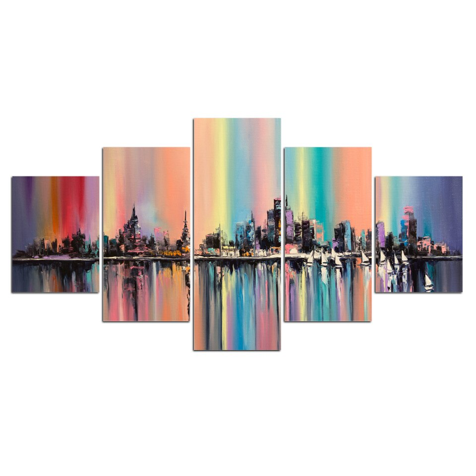 5 Panels Painting City Lake Colorful Canvas Wall Art Picture Home Decoration Living Room Print Painting