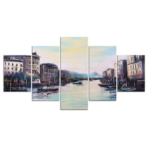 Canvas Print Pictures Wall Art 5 Pieces Western Lake Boat Painting Poster Modular Home Decor