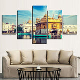 Modern Wall Art Pictures Home Decor Posters 5 Panel Golden Temple Living Room HD Printed Painting