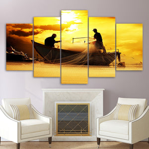 5 Piece Canvas Painting Net Fishing Dusk Sunset HD Posters Prints Wall Decorations Living Room