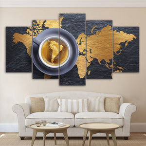 5 Piece Canvas Art Coffee World Map Artwork Posters Painting Wall Pictures Living Room