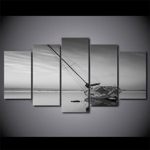 5 Piece Canvas Painting Calm Lake Sailing Boat HD Posters Prints For Living Room