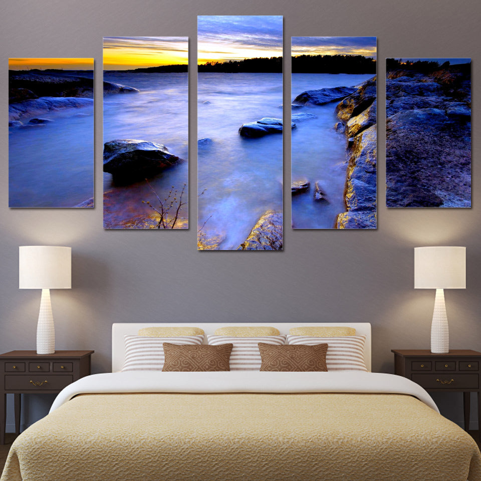 5 Piece Canvas Prints Wall Art Sea Coast Stone Vision Painting Picture Print Home Decor Living Room Poster