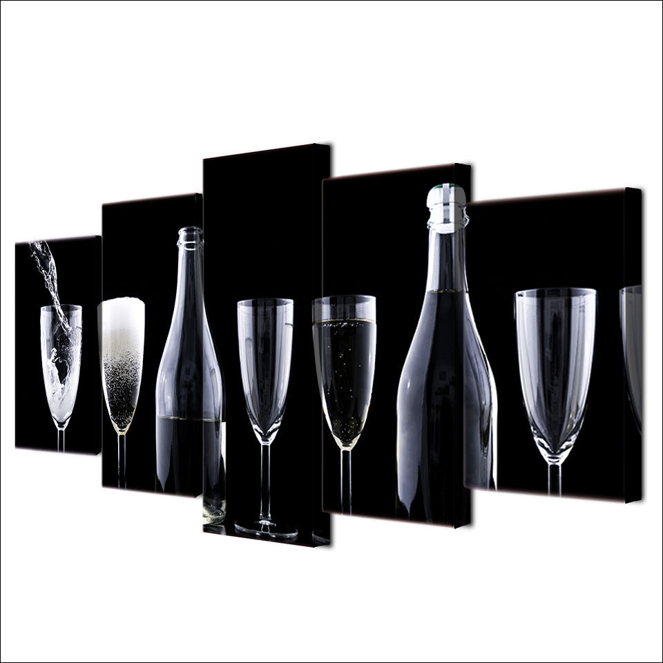 5 Piece Canvas Painting Glasses Bottles Artwork HD Posters Prints For Living Room