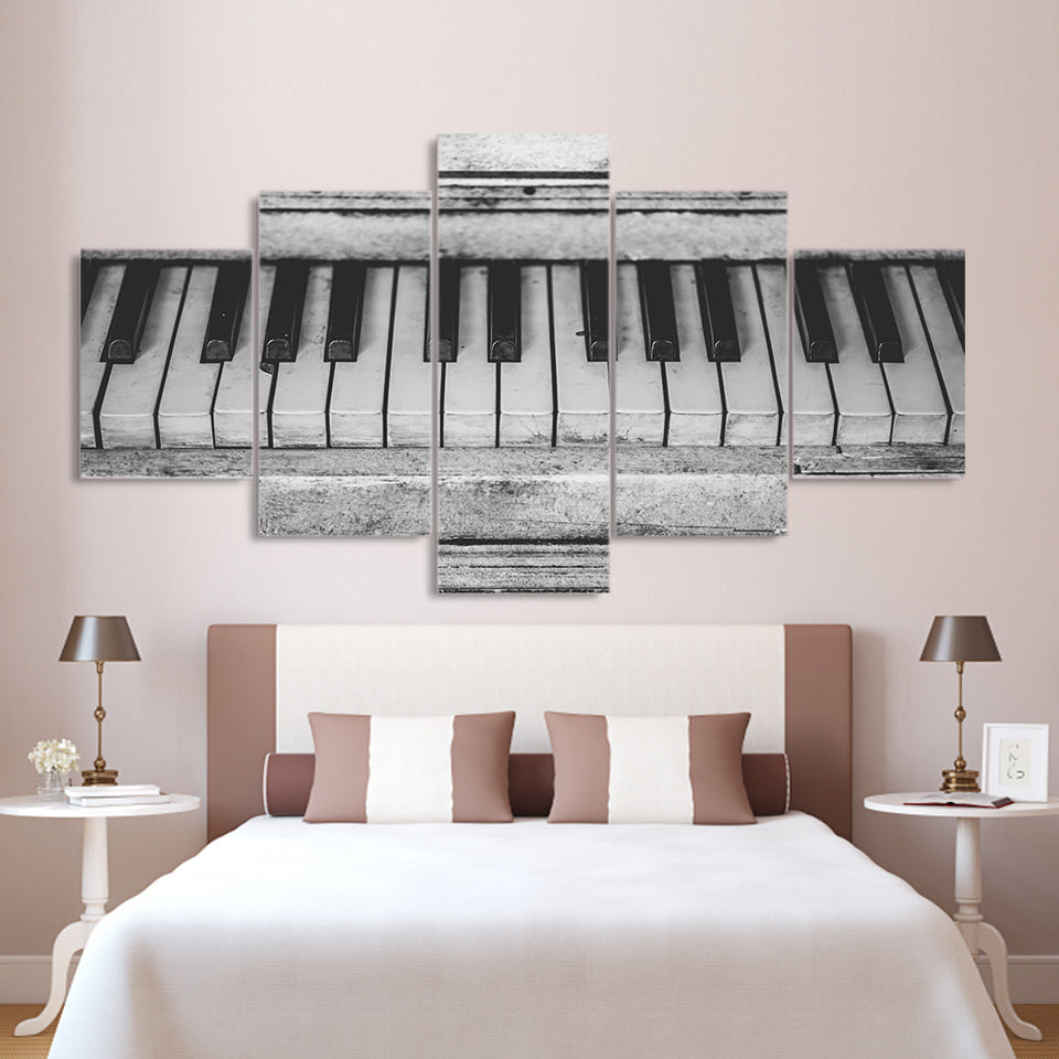 5 Piece Canvas Painting Old Piano Keyboard HD Posters Prints For Living Room