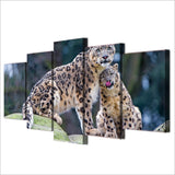 5 Piece Canvas Art Leopard Pair Posters Modern Wall Pictures Living Room Painting