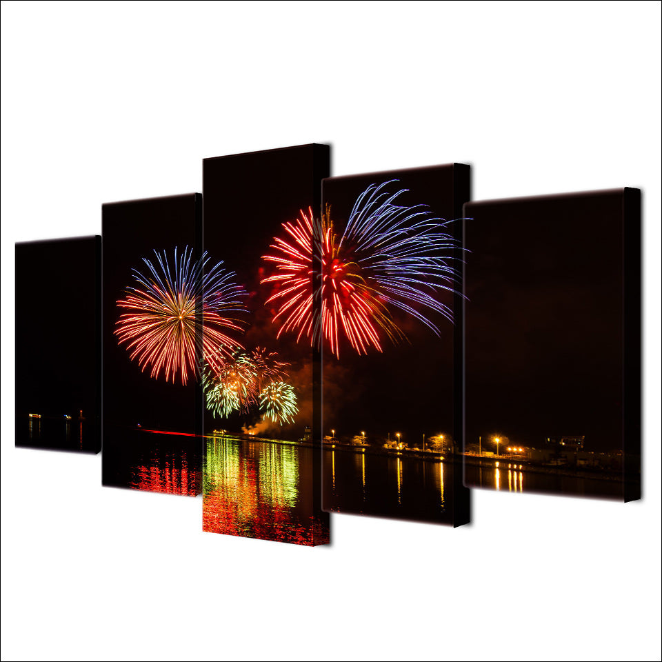 5 Piece Canvas Painting Fireworks City Night HD Posters And Prints Canvas Painting Living Room