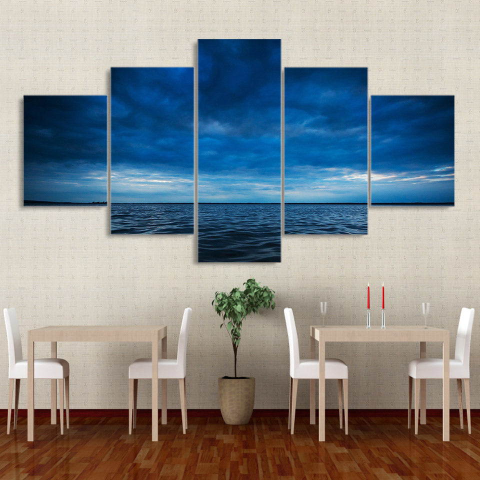 HD Print 5 Piece Canvas Painting The Dark Clouds Seascape Posters Wall Pictures Living Room