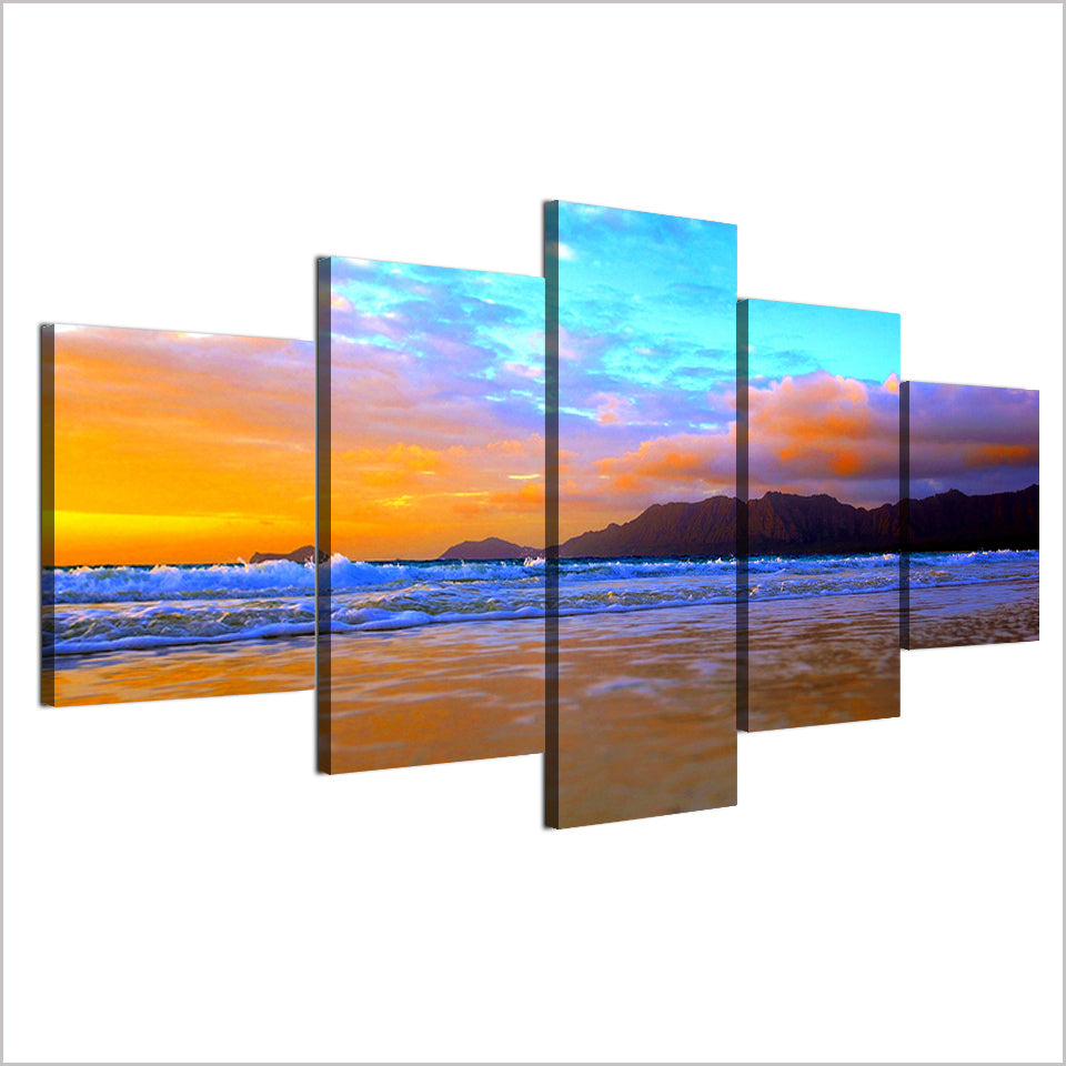 HD Print 5 Piece Canvas Painting Rosy Coulds Beach Seascape Posters Wall Pictures Living Room