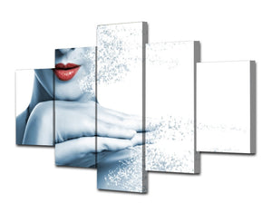 HD Printed Lips Woman Disintegrating Painting Canvas Print Room Decor Print Poster Picture